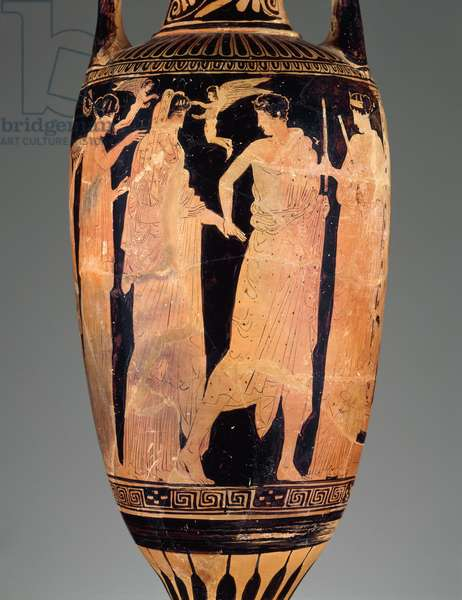 Bathing vessel (loutrophoros) depicting a bridal procession, Classical Period, 450-425 BC (ceramic)