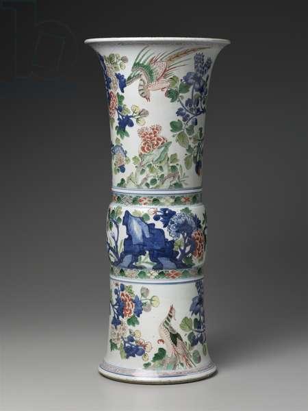 Gu-shaped vase with overglaze enamel and underglaze blue (qinghua wucai) decoration of peony, chrysanthemum, lotus, and pheasants (porcelain)