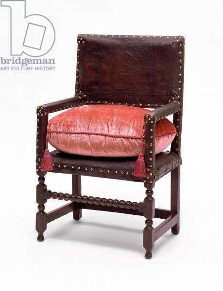 Leather great chair, 1665–-80 (oak, maple, linen, leather & brass)