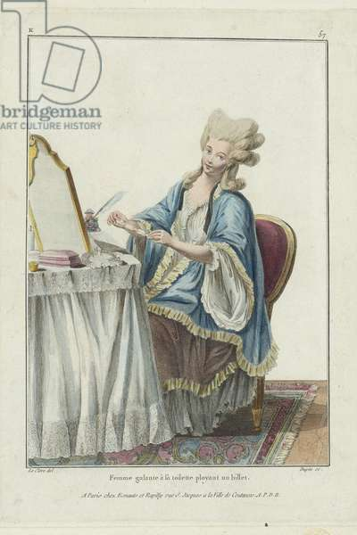 Woman at her Toilet folding a Note, from 'Gallerie des Modes et Costumes Francais', engraved by Nicolas Dupin, published by Esnauts et Rapilly, Paris, 1778 (hand-coloured engraving) (see 263909)