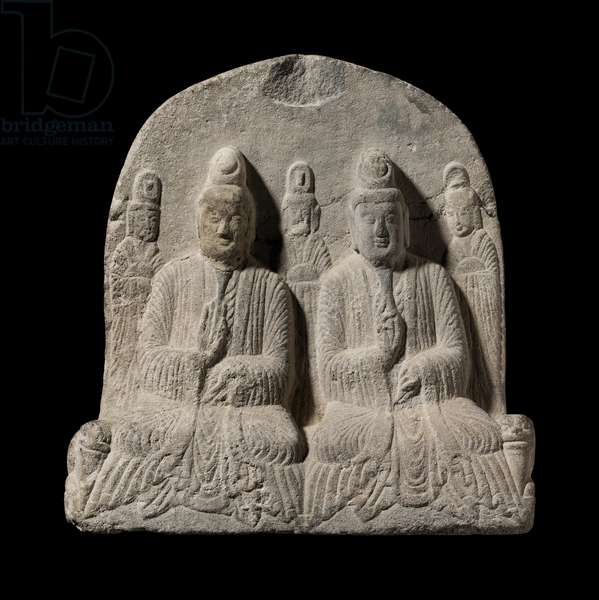 Votive offering of two seated figures and attendants, 515 (sandstone)