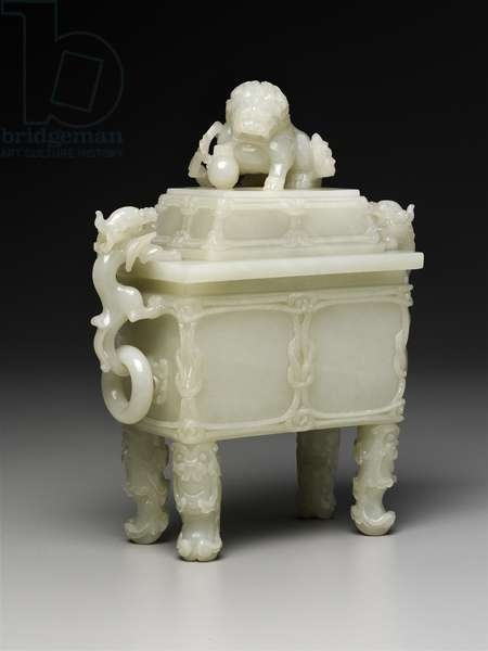 Covered square ding-shaped vase with design of lion and winged dragon, 18th century (white jade)