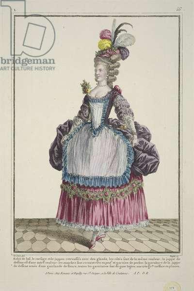 Ball Dress, from 'Gallerie des Modes et Costumes Francais', engraved by Etienne Claude Voysard, published by Esnauts et Rapilly, Paris, 1778 (hand-coloured engraving)