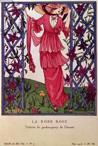 Gazette de Bon Ton: La Robe Rose, garden party dress by Jacques Doucet, 1913