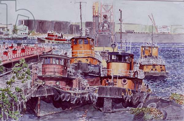 Tugboats, Kill Van Kull, Staten Island, New York, 2003 (watercolour)