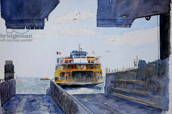 Staten Island Ferry Docking, 2010 (w/c on paper)
