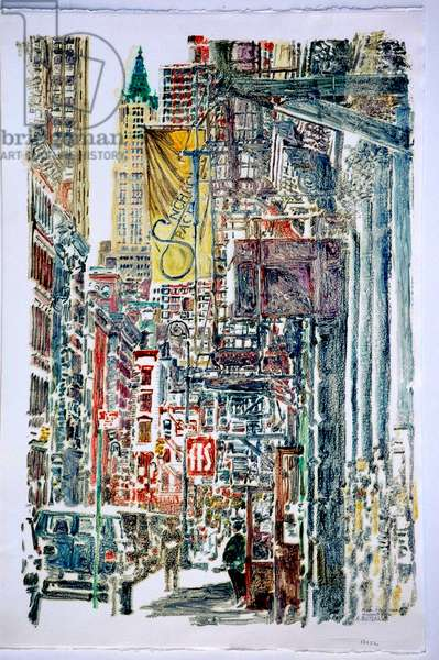 Woolworth Building and Mercer St.,1996,(monoprint)