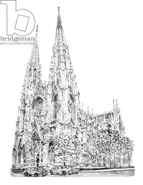 St Patrick's Cathedral, Fifth Avenue, New York, 2010 (drawing, pencil)