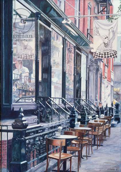 Cafe Della Pace, East 7th Street, New York City, 1991 (oil on canvas)
