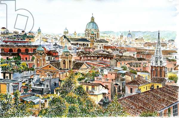 Rome, from the Borghese Gardens,2012 ( watercolor)