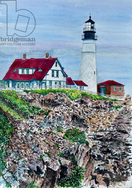 Portland Headlight, Maine, 2014 (watercolor)