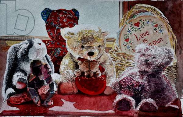 Teddy Bears and Rabbit,2010 (watercolor);,