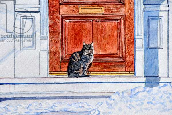 Cat in Snow Waiting, 2005, (watercolor)