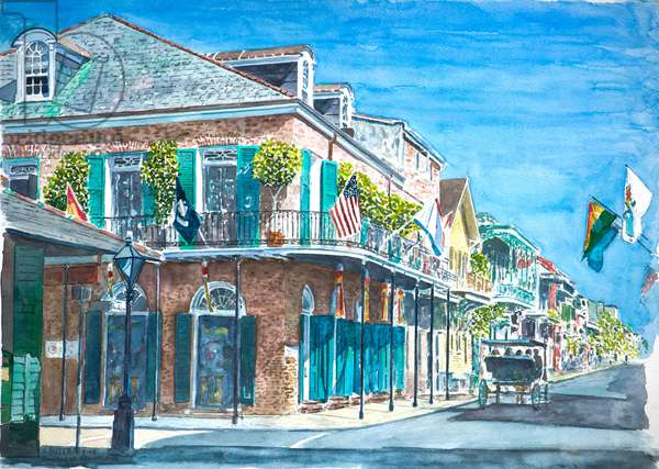 New Orleans, Bourbon St., 2008 (w/c on paper)