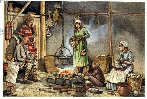 Daily life: preparing the meal in the kitchen of a family of Lombards in the 7th century, the family is reunited around the fire, above which is hung a pot. Illustration by Giorgio Albertini. (The use of this author's works is not subject to an application for authorization from a third party or to the payment of additional fees).