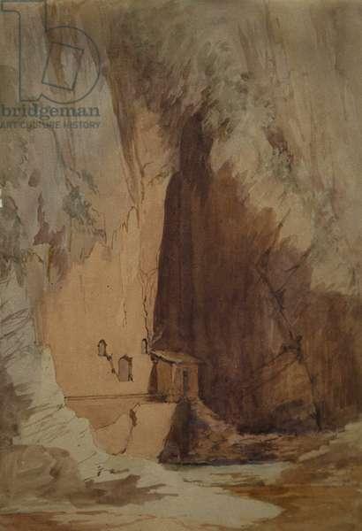 The Castalian Spring at Delphi, 1842 (graphite & w/c on paper)