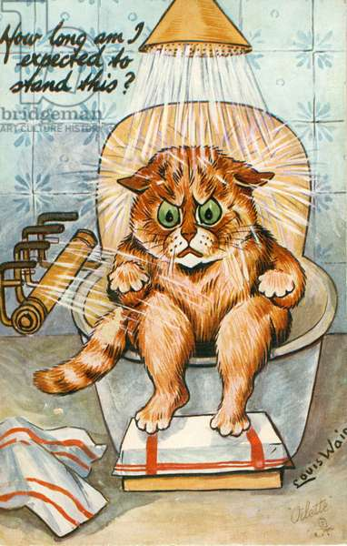 Taking the Waters as Seen by Louis Wain, c.1930 (colour litho)