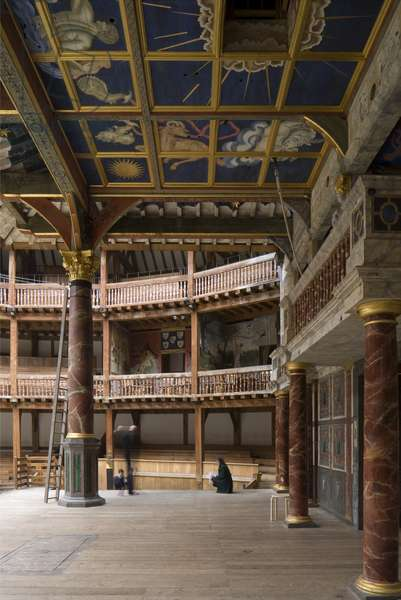 Shakespeare's Globe, View across the stage, Southwark, London, UK(photo)