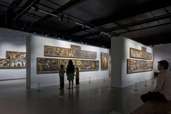 Visitors to Sir Stanley Spencer exhibition, No. 1 Smithery, Chatham Historic Dockyard, UK (photo)