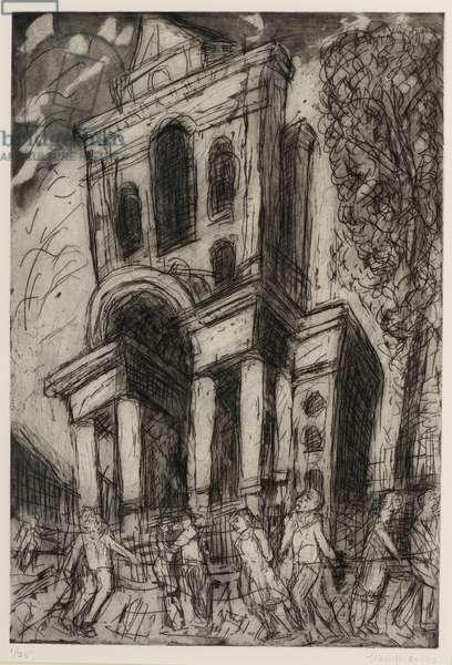 Christ Church, Spitalfields, Spring, 1992 (etching & aquatint on paper)