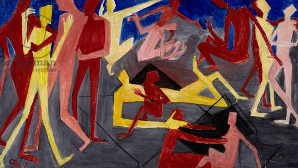 Vorticist Figures (Untitled), c.1911 (oil on canvas)