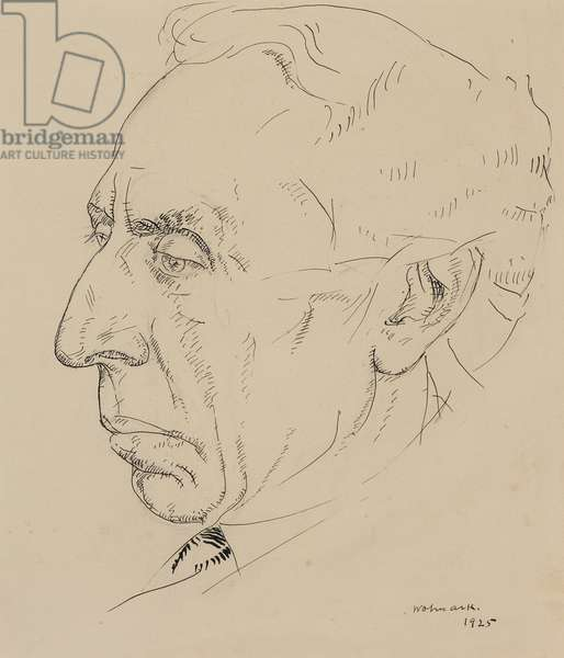 Portrait of Israel Zangwill, 1925 (pen and ink on paper)
