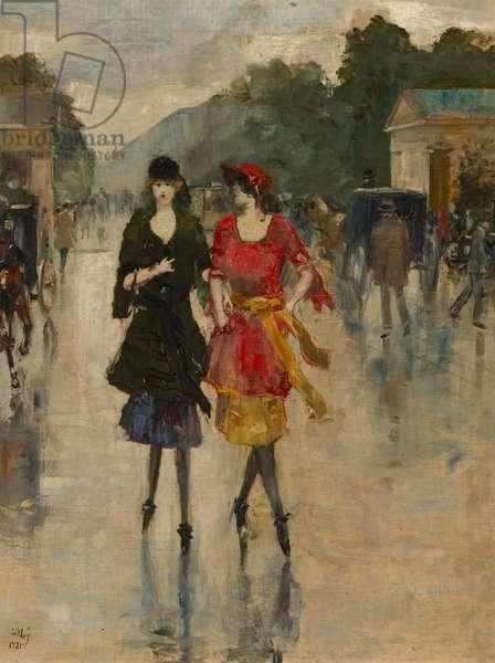 Berlin Street Scene, 1921 (oil on canvas)