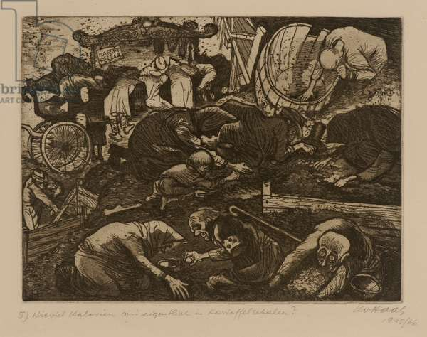 Terezín-Theresienstadt (How Many Calories are there in Potato Peelings?), 1945/66 (drypoint & aquatint on paper)