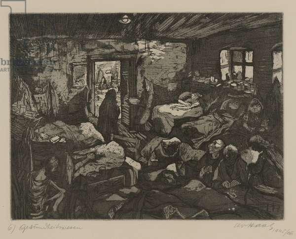 Terezín-Theresienstadt (Public Health), 1945/66 (drypoint & aquatint on paper)