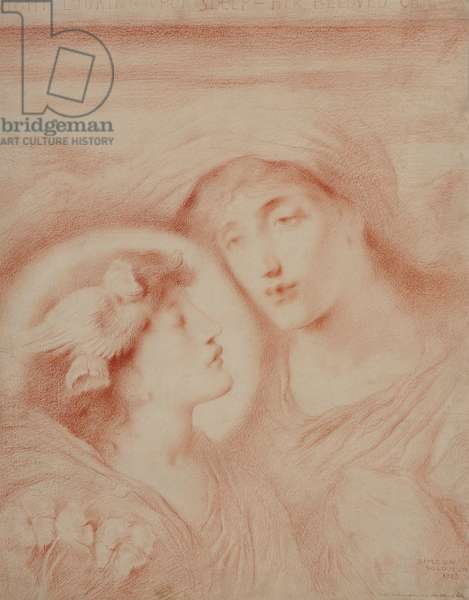 Night Looking Upon Sleep Her Beloved Child (I), 1893 (red chalk on paper)