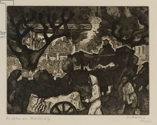 Terezín-Theresienstadt (Life, The Market Place), 1945/66 (drypoint & aquatint on paper)