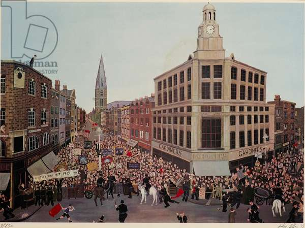 Protest at Whitechapel Road and Commercial Street, 1975 (colour litho)