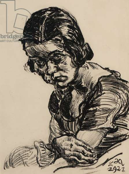Portrait of a Girl, 1922 (charcoal on paper)