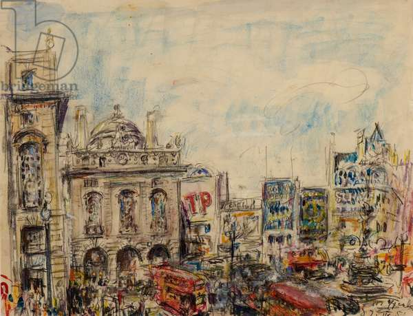 Piccadilly Circus, c.1950-70 (mixed media on paper)