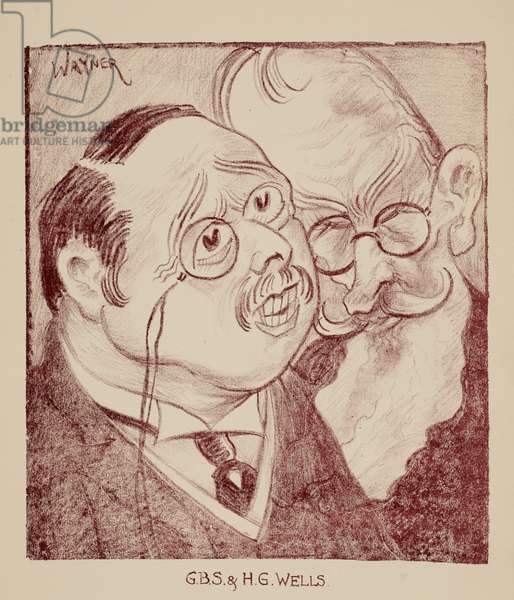 George Bernard Shaw and H. G. Wells, 1931 (litho)