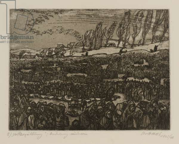 Terezín-Theresienstadt (Counting The People: 'There Must be Order'), 1945/66 (drypoint & aquatint on paper)