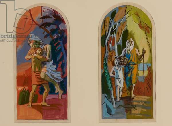 Abraham and Isaac (gouache on paper)