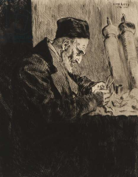 The Scribe, 1884 (drypoint etching & mezzotint on paper)