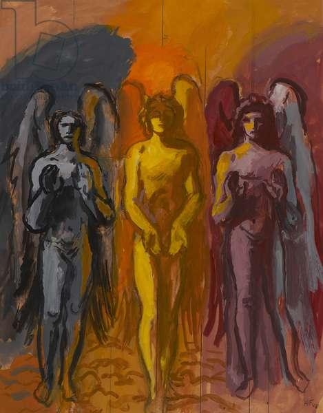 Three Messengers, 1988 (gouache on paper)