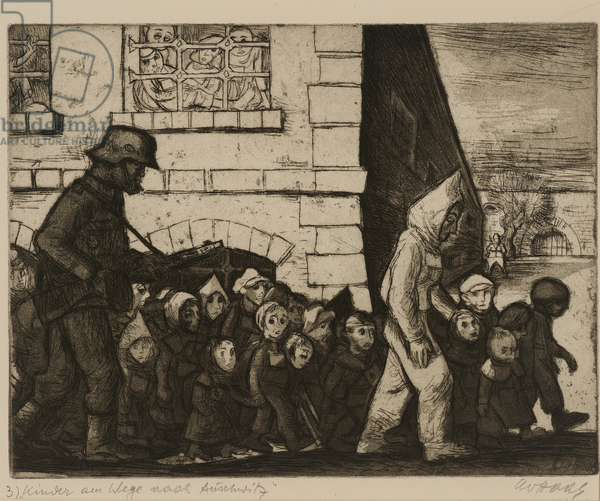 Terezín-Theresienstadt (Children on the Way to Auschwitz), 1945/66 (drypoint & aquatint on paper)
