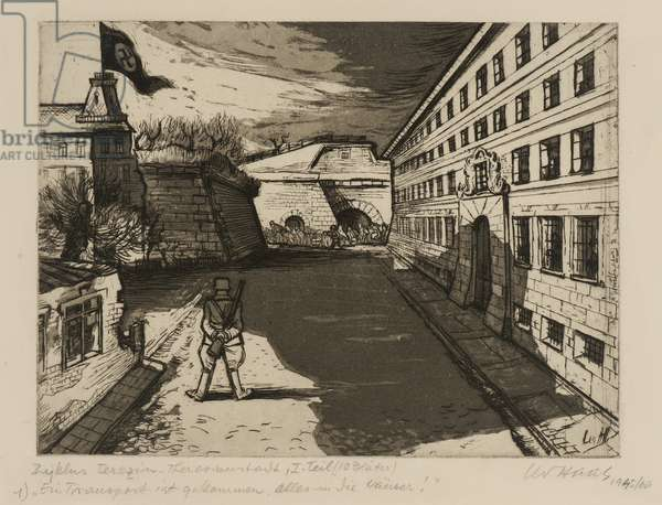 Terezín-Theresienstadt (A Transport Has Arrived), 1945/66 (drypoint & aquatint on paper)