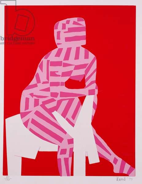 Seated Female Nude, 1975 (colour litho)