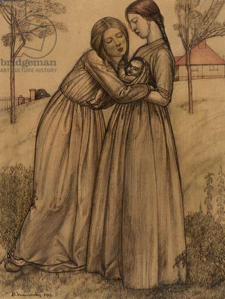 Two Women and Child, 1913 (coloured pencil on paper)