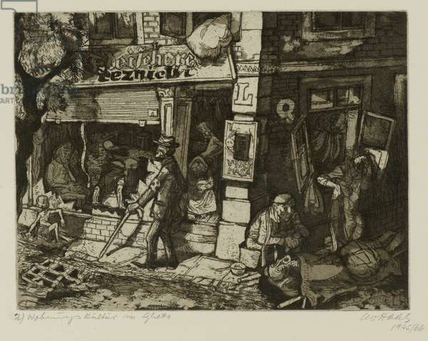 Terezín-Theresienstadt (Ghetto), 1945/66 (drypoint, aquatint & etching on paper)