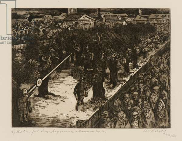 Terezín-Theresienstadt (Make Way for the Superman Commander), 1945/66 (drypoint, aquatint & etching on paper)