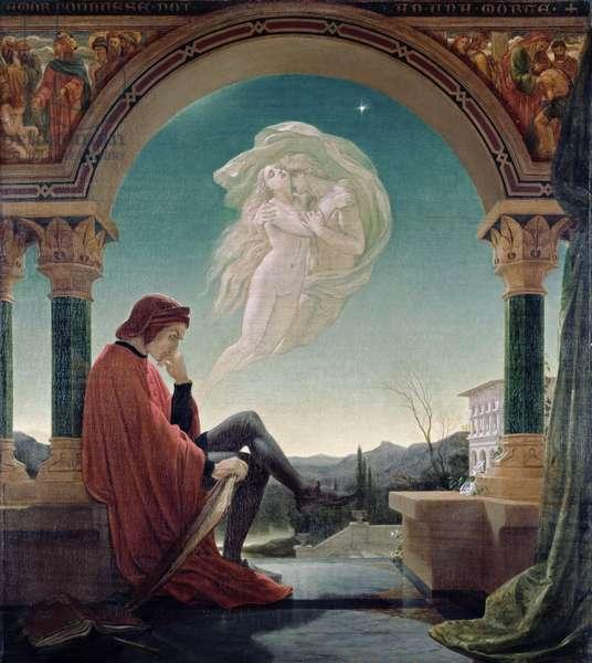 Dante Meditating the Episode of Francesca da Rimini and Paolo Malatesta (oil on canvas)