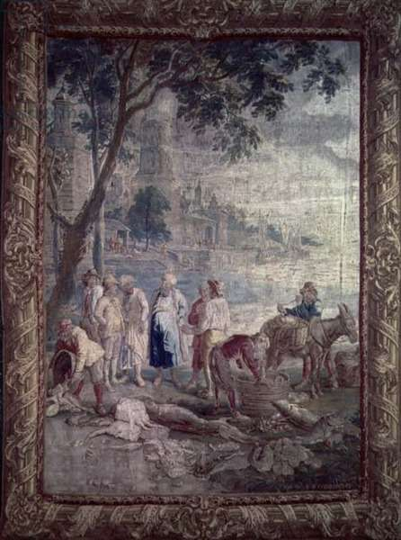 Tapestry depicting a rustic scene by I.V.Borcht, Flemish, 17th century