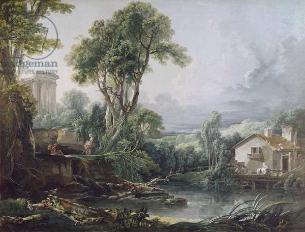 Landscape with a Watermill (oil on canvas)