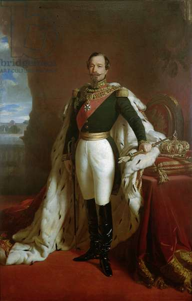 Portrait of Emperor Napoleon III (1808-73) in coronation robes (oil on canvas)