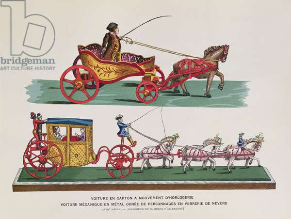 "Mechanical carriage, figures and horses from ""Histoire des Jouets"" by Henri d'Allemagne"